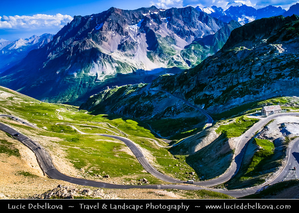 Europe - France - Alpes de Haute-Provence - Col du Galibier Area - Mountain pass at elevation of 2,645 m (8,678 ft) & surrounding landscape of French Dauphiné Alps - Highest point of Tour de France cycling race