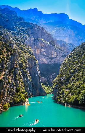 Europe - France - Provence-Alpes-Côte d'Azur Region - Var department - Parc naturel régional du Verdon - Lake of Sainte-Croix - Lac de Sainte Croix next to the Gorges du Verdon - Beautiful man-made emerald-green water lake & the largest of the Verdon lakes