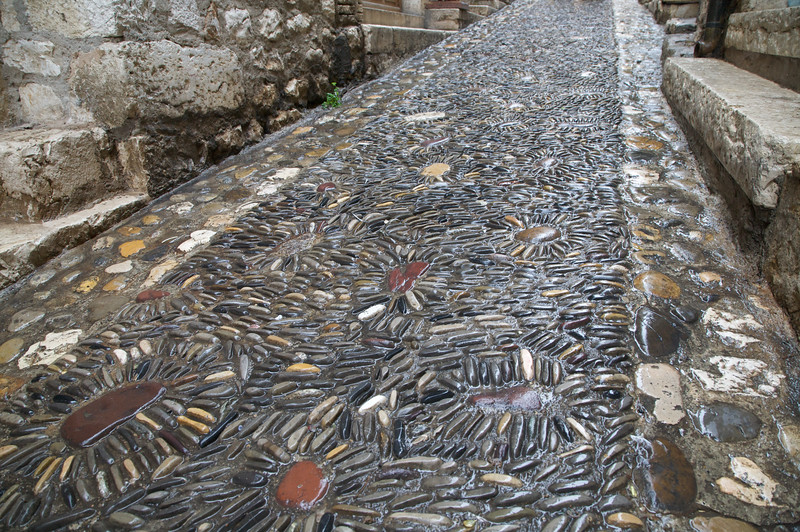 Decorated cobble stone streets