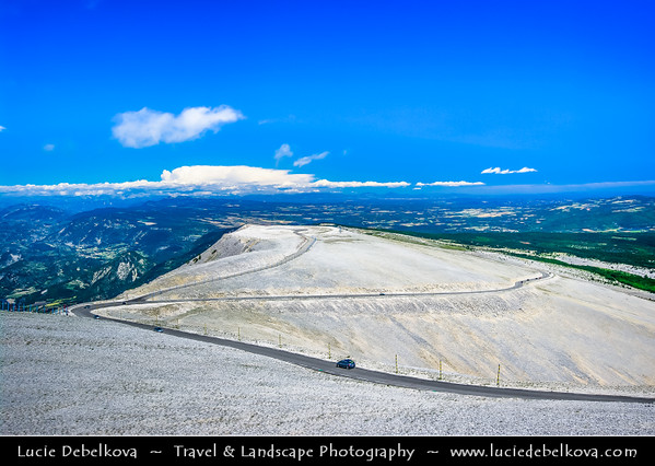 "Europe - France - Provence-Alpes-Côte d'Azur Region - Vaucluse - Mont Ventoux - 1,912 m mountain nicknamed ""Giant of Provence"" or ""Bald Mountain"" - Iconic mountain famous for hardest climb in Tour de France cycling race"