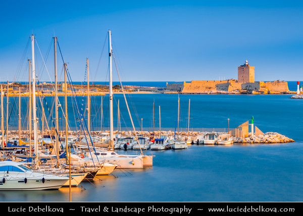 Europe - France - Provence-Alpes-Côte d'Azur Region - Port de Bouc - Coastal town on shores of  Mediterranean Sea near Marseille - Old port with fortress & lighthouse