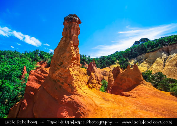 Europe - France - Provence-Alpes-Côte d'Azur Region - Vaucluse - Parc Naturel Régional du Luberon - Colorado Provençal de Rustrel - The ocre-red rock stunning cliffs shaped by natural elements