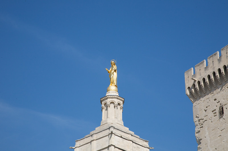 A statue of the virgin Mary on top of the 'Cathédrale Notre-Dame des Doms', Avignon.