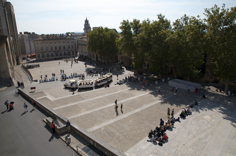 View of the palace square, Palace of the Popes, Avignon.