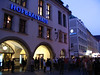 Outside the Hofbräuhaus. Originally part of the Royal Brewery founded in 1589. The present building dates to 1830 and serves 10,000 liters of beer a day.