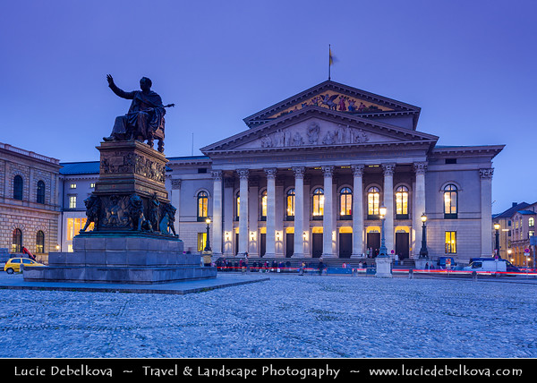 Europe - Germany - Deutschland - Bavaria - Bayern - Munich - München - National Theatre Munich - Nationaltheater München - Opera house in Max-Joseph-Platz - Bavarian State Opera at Dusk - Twilight - Blue Hour - Night