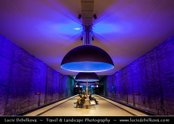 Germany - Bavaria - Bayern - Munich - München - U-Bahn station - Subway Station Westfriedhof - Containing Eleven concave aluminum luminaires each measuring 3.80 meters in diametr with differently lacquered interiors designed by Ingo Mauer