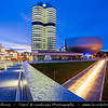 Germany - Bavaria - Bayern - Munich - München - BMW Welt - Very spectacular modern architecture BMW show room at Dusk - Twilight - Blue Hour