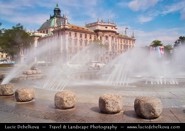 Europe - Germany - Deutschland - Bavaria - Bayern - Munich - München - Water fountain in front of the Justizpalast Munich (Palace of Justice) - Palatial courthouse & administrative building in Munich