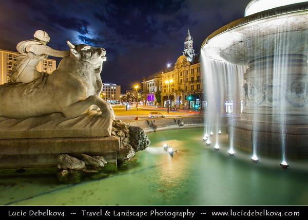 Europe - Germany - Deutschland - Bavaria - Bayern - Munich - München - Illuminated Wittelsbacher fountain - One of the most beautiful fountains in Munich located on axis of Karlsplatz, Lenbachplatz & Maximiliansplatz