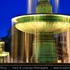 Europe - Germany - Deutschland - Bavaria - Bayern - Munich - München - Illuminated fountain in front of the University - Ludwig Maximilians Universität at Dusk - Twilight - Blue Hour - Night