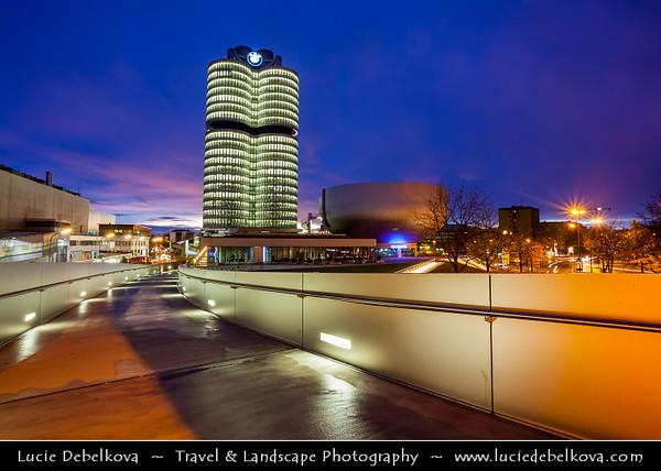 Germany - Bavaria - Bayern - Munich - München - BMW Welt - Very spectacular modern architecture BMW show room at Dusk - Twilight - Blue Hour