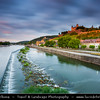Europe - Germany - Deutschland - Bavaria - Bayern - Franconia - Würzburg - Historic city center - Fortress Marienberg on the hill on banks of river Main