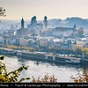 """Europe - Germany - Deutschland - Bavaria - Bayern - Lower Bavaria - Passau - Dreiflüssestadt - """"City of Three Rivers""""  Danube river at confluence with Inn river from south & Ilz river from north - Historical town famous for its gothic & baroque architecture - Cityscape of old town - Altstadt - with  St. Stephen's Cathedral - Der Passauer Stephansdom"""