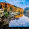 Europe - Germany - Deutschland - Bavaria - Bayern - Lower Bavaria - Passau Area - Triftsperre - Magical area along Inn river deep in Bavarian forest during Autumn/Fall