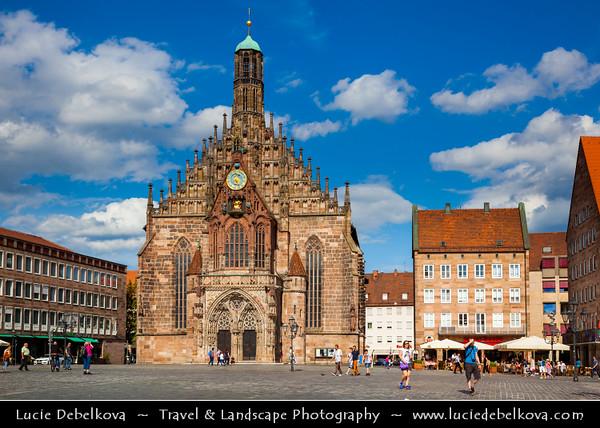 Europe - Germany - Deutschland - Bavaria - Bayern - Franconia - Nuremberg - Nürnberg - Norimberg - Altstadt - Old Town - Hauptmarkt - Main Market Square - Frauenkirche - Church of Our Lady built in brick Gothic architecture style