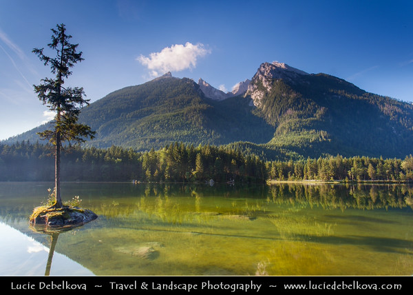 Europe - Germany - Deutschland - Bavaria - Bayern - Berchtesgaden National Park - Hintersee lake - Crystal clear lake in Bavarian Alps with the third highest mountain in Germany, the fabled Mount Watzmann (2713 m) in the background