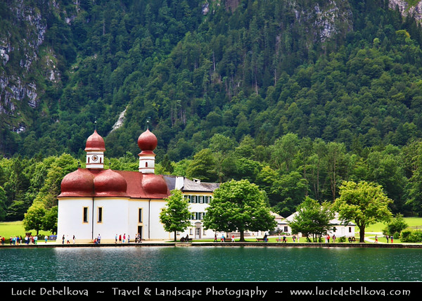 Europe - Germany - Deutschland - Bavaria - Bayern - Berchtesgaden National Park - Königssee Lake - Germany's third deepest lake with crystal-clear emerald-green water located at a Jurassic rift formed by glaciers - St. Bartholomew's - St. Bartholomä - Roman Catholic pilgrimage church