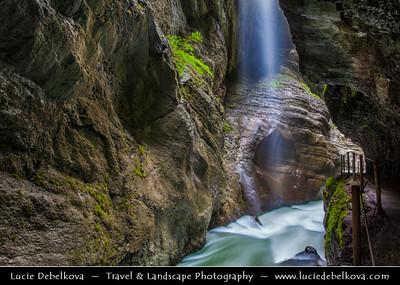 Europe - Germany - Deutschland - Bavaria - Bayern - Garmisch-Partenkirchen District - Partnach Gorge - Partnachklamm - Deep gorge incised by mountain stream, the Partnach in the Reintal valley