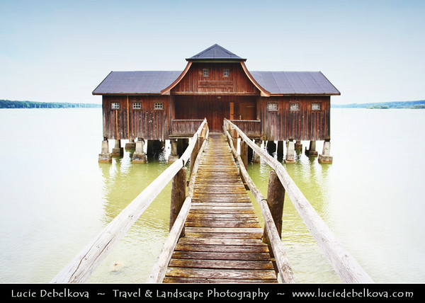 Europe - Germany - Deutschland - Bavaria - Bayern - Ammersee - Zungenbecken lake in Upper Bavaria - Wooden Boat House