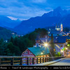 Europe - Germany - Deutschland - Bavaria - Bayern - Berchtesgaden National Park - Berchtesgaden town with the third highest mountain in Germany, the fabled Mount Watzmann (2713 m) in the background - Dusk - Twilight - Blue Hour - Night