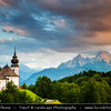 Europe - Germany - Deutschland - Bavaria - Bayern - Berchtesgaden National Park - Maria Gern Kirche Church with the third highest mountain in Germany, the fabled Mount Watzmann (2713 m) in the background