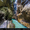 Europe - Germany - Deutschland - Bavaria - Bayern - Garmisch-Partenkirchen District - Partnach Gorge - Partnachklamm - Deep gorge incised by mountain stream, the Partnach in the Reintal valley