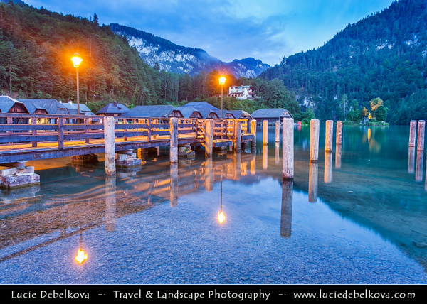 Europe - Germany - Deutschland - Bavaria - Bayern - Berchtesgaden National Park - Schönau am Königssee - Small town on shores of Königssee Lake - Germany's third deepest lake with crystal-clear emerald-green water located at a Jurassic rift formed by glaciers - Dusk - Twilight - Blue Hour - Night