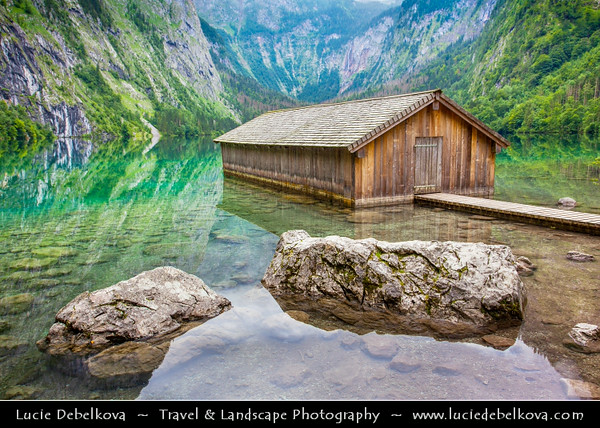Europe - Germany - Deutschland - Bavaria - Bayern - Berchtesgaden National Park - Obersee - Königssee Lake - Germany's third deepest lake with crystal-clear emerald-green water located at a Jurassic rift formed by glaciers - Obersee lake - Upper Lake - Smaller lake above the more famous Königssee lake with iconic boathouse