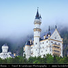 Europe - Germany - Deutschland - Bavaria - Bayern - Füssen area - Neuschwanstein Castle - Royal palace in the Bavarian Alps & World famous nineteenth-century Romanesque Revival palace on a rugged hill above the village of Hohenschwangau located at end of the Romantic Road
