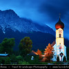 Europe - Germany - Deutschland - Bavaria - Bayern - Garmisch-Partenkirchen District - Grainau located against the Wettersteinmassive & at the foot of the Zugspitze mountain 2,962 m (9,718 ft) above sea level, the tallest mountain in Germany - Grainau Church at Dusk - Twilight - Blue Hour