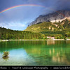 Europe - Germany - Deutschland - Bavaria - Bayern - Garmisch-Partenkirchen District - Eibsee lake - Emerald-green colored & crystal-clear water lake located against the Wettersteinmassive & at the foot of the Zugspitze mountain 2,962 m (9,718 ft) above sea level, the tallest mountain in Germany