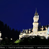 Europe - Germany - Deutschland - Bavaria - Bayern - Füssen area - Neuschwanstein Castle - Royal palace in the Bavarian Alps & World famous nineteenth-century Romanesque Revival palace on a rugged hill above the village of Hohenschwangau located at end of the Romantic Road - Dusk - Twilight - Blue Hour - Night