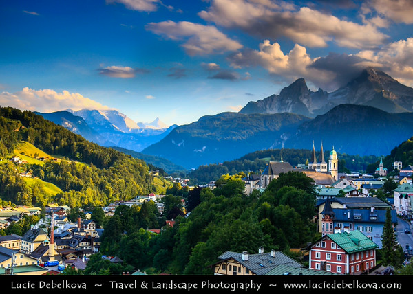 Europe - Germany - Deutschland - Bavaria - Bayern - Berchtesgaden National Park - Berchtesgaden town with the third highest mountain in Germany, the fabled Mount Watzmann (2713 m) in the background