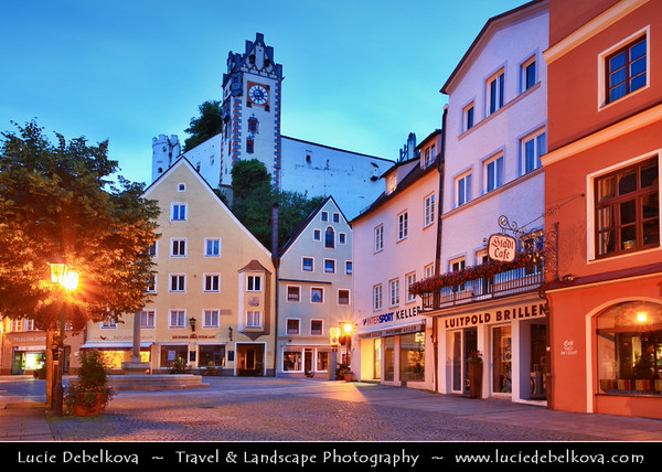 Europe - Germany - Deutschland - Bavaria - Bayern - Füssen im Allgäu - Enchanting Bavarian town known for the Hohes Schloss, its Basilica and former Benedictine monastery of St Mang - Located at end of the Romantic Road with world famous Neuschwanstein Castle & Hohenschwangau Castle situated a few kilometres to the east