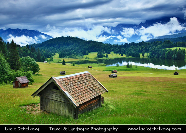 Europe - Germany - Deutschland - Bavaria - Bayern - Garmisch Partenkirchen - Geroldsee Lake with Wooden Huts during Early Morning