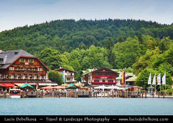 Europe - Germany - Deutschland - Bavaria - Bayern - Berchtesgaden National Park - Schönau am Königssee - Small town on shores of Königssee Lake - Germany's third deepest lake with crystal-clear emerald-green water located at a Jurassic rift formed by glaciers