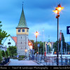 Europe - Germany - Deutschland - Bavaria - Bayern - Lake Constance - Bodensee - Freshwater lake at the northern foot of the Alps - Lindau - Bavarian historic town & island - Harbour entrance with lighthouse and Bavarian Lion sculpture