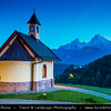 Europe - Germany - Deutschland - Bavaria - Bayern - Berchtesgaden National Park - Lockstein Chapel with the third highest mountain in Germany, the fabled Mount Watzmann (2713 m) in the background