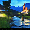Europe - Germany - Deutschland - Bavaria - Bayern - Berchtesgaden National Park - Ramsau bei Berchtesgaden - Parish Church St. Sebastian with high mountains in the background, including the third highest mountain in Germany, the fabled Mount Watzmann (2713 m) - Dusk - Twilight - Blue Hour - Night