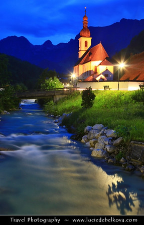 Europe - Germany - Deutschland - Bavaria - Bayern - Berchtesgaden National Park - Ramsau bei Berchtesgaden - Parish Church St. Sebastian with high mountains in the background, including the third highest mountain in Germany, the fabled Mount Watzmann (2713 m) - Dusk - Twilight - Blue Hour - Night