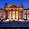 Germany - Berlin - Reichstag - Parliament - Seat of the German Parliament - One of Berlin's most historical landmarks - Reichstag building seen from the west during Dusk - Twilight - Blue Hour - Night<br /> <br /> Camera Model: Canon EOS 5D Mark II; Lens: 17.00 - 40.00 mm; Focal length: 27.00 mm; Aperture: 14; Exposure time: 32.0 s; ISO: 100