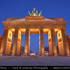 Germany - Berlin - Capital City - Brandenburg Gate with Quadriga on top at Dusk - Blue Hour<br /> <br /> Camera Model: Canon EOS 5D Mark II; Lens: 17.00 - 40.00 mm; Focal length: 23.00 mm; Aperture: 14; Exposure time: 13.0 s; ISO: 100
