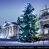 Germany - Berlin - Capital City - Christmas at Reichstag Parliament Building at Dusk - Blue Hour<br /> <br /> Camera Model: Canon EOS 5D Mark II; Lens: 24.00 - 105.00 mm; Focal length: 24.00 mm; Aperture: 11; Exposure time: 32.0 s; ISO: 100