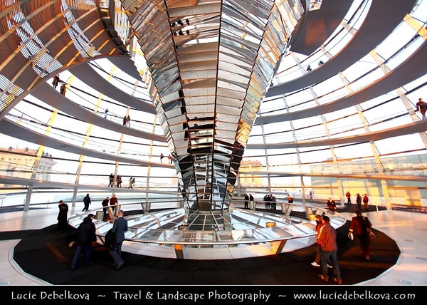 Germany - Berlin - Reichstag - Parliament - Seat of the German Parliament - One of Berlin's most historical landmarks - Dome of the The Reichstag - Large glass dome at the very top of the building - Dome has a 360-degree view of the surrounding Berlin cityscape<br /> <br /> Camera Model: Canon EOS 5D Mark II; Lens: 17.00 - 40.00 mm; Focal length: 17.00 mm; Aperture: 4.0; Exposure time: 1/30 s; ISO: 200