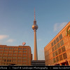 Germany - Berlin - Alexanderplatz & Television Tower or Fernsehturm in Mitte Berlin - Symbol of Berlin easily visible throughout the central & some suburban districts of Berlin - 368 meters hight making it the tallest structure in Germany<br /> <br /> Camera Model: Canon EOS 5D Mark II; Lens: 24.00 - 105.00 mm; Focal length: 24.00 mm; Aperture: 5.6; Exposure time: 1/125 s; ISO: 100
