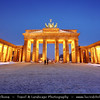 Germany - Berlin - Capital City - Brandenburg Gate with Quadriga on top at Dusk - Blue Hour<br /> <br /> Camera Model: Canon EOS 5D Mark II; Lens: 17.00 - 40.00 mm; Focal length: 17.00 mm; Aperture: 14; Exposure time: 15.0 s; ISO: 100