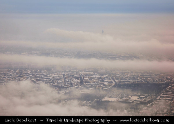 Europe - Germany – Deutschland - Berlin – Capital City - View from above of Television Tower or Fernsehturm in Mitte Berlin - Symbol of Berlin easily visible throughout the central & some suburban districts of Berlin - 368 meters hight making it the tallest structure in Germany during snowy winter<br /> <br /> Camera Model: Canon EOS 5D Mark II; Lens: 24.00 - 105.00 mm; Focal length: 70.00 mm; Aperture: 5.6; Exposure time: 1/80 s; ISO: 100