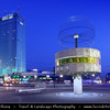 Germany - Berlin - Alexanderplatz railway station & The Weltzeituhr - World clock - Worldtime Clock - Clock which displays the time for various cities around the world captured at Dusk - Twilight - Blue Hour<br /> <br /> Camera Model: Canon EOS 5D Mark II; Lens: 17.00 - 40.00 mm; Focal length: 24.00 mm; Aperture: 20; Exposure time: 32.0 s; ISO: 100