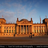 Germany - Berlin - Reichstag - Parliament - Seat of the German Parliament - One of Berlin's most historical landmarks - Reichstag building seen from the west during sunset<br /> <br /> Camera Model: Canon EOS 5D Mark II; Lens: 24.00 - 105.00 mm; Focal length: 24.00 mm; Aperture: 6.3; Exposure time: 1/125 s; ISO: 100